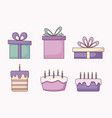 set of gift boxes and sweet cakes vector image vector image