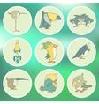 Set of hand drawn retro cartoon birds on vector image vector image