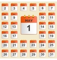 Set of icons for the calendar in May vector image vector image