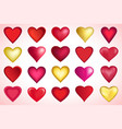set red and golden valentines heart vector image