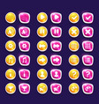 Set with shiny pink and yellow interface buttons