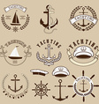 set yachting labels and design elements vector image
