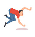 shocked man falling down forward accident pain
