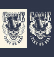 skull casino concept t-shirt print vector image vector image