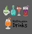 spooky halloween drinks set of icons vector image