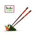 sushi chopsticks temaki with caviar rice vector image