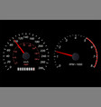 tachometer and speedometer scale on black vector image vector image