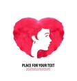 The womans face and the heart Girl silhouette vector image