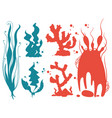 underwater plants and corals silhouettes vector image vector image