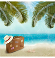 Vintage beautiful seaside background with suitcase vector image vector image