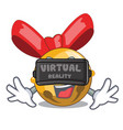 virtual reality jinggle bell ball christmas on vector image vector image