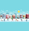 winter city horizontal vector image vector image