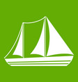 yacht icon green vector image vector image