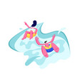 young couple enjoying summer vacation in waterpark vector image vector image