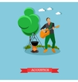Young man singing and playing guitar near campfire vector image vector image