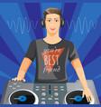 dj in headphones plays music on modern turntable vector image