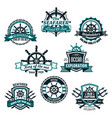 nautical and marine anchors icons set vector image