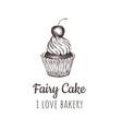 fairy cake cupcake sketch lettering logo vector image