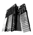 Grunge silhouette of modern building vector image