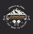 vintage adventure label mountain expedition vector image
