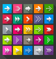 Arrows icons signs long shadow style vector image vector image