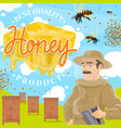 beekeeping farm poster with beekeeper at apiary vector image vector image
