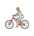 bicyclist or bikeman male character riding sketch vector image vector image