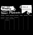 black and white weekly planner template vector image