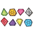 Cartoon gems and diamonds icons set vector image vector image