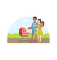 cheerful interracial parents with their toddler vector image vector image