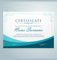 clean blue certificate design modern template vector image vector image