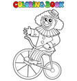 coloring book with happy clown 4 vector image vector image