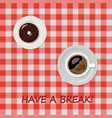 cup of coffee and donut isolated on cage vector image