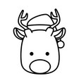cute reindeer head christmas character vector image vector image