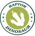 dinosaur footprint green circle label design vector image vector image