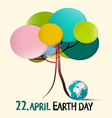 Earth Day - 22 April with Colorful Retro Paper vector image