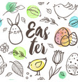 easter seamless pattern with rabbit and birds vector image vector image