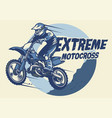 extreme motocross badge design vector image vector image