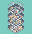 flat 3d isometric industrial factory in cut vector image