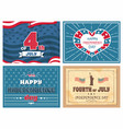 fourth july independence day poster usa flags set vector image vector image