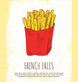 french fries in red package colorful card vector image vector image