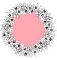 hand drawn vintage floral round frame vector image vector image