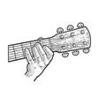 hand play guitar line art sketch vector image vector image