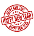 happy new year red grunge round vintage rubber vector image vector image