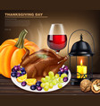 happy thanksgiving turkey menu realistic vector image vector image