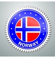 Norwegian flag label vector image vector image