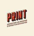 offset print style modern font design alphabet vector image