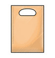 paper bag with handle in colored crayon silhouette vector image vector image