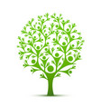 people tree sign color green vector image vector image