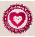 red valentines stamp with hearts and wishes text vector image